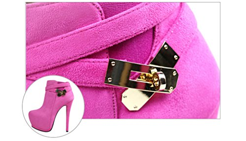 XZ Europe and The United States Fashion Very High Fine With Pointed Waterproof Taiwan Martin Boots Metal Belt Buckle Thin Female Boots Rose Red y0kMBLn