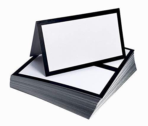 Tented Place Cards - 50 pack - Folded Place Cards are ideal as Wedding Place Cards, Buffet food label, Banquet tables, Cocktail Parties, and Name Cards. Made of 14 pt. Matte Card Stock. ()