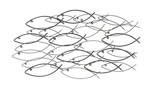 "Deco 79 87450 Fantastic Metal Fish Wall Decor, 39"" W x 19"" H"