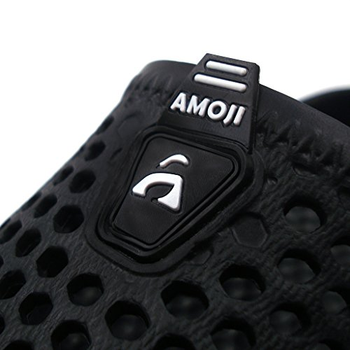 Amoji Garden Clogs Shoes House Slippers Indoor Room Sandals Outdoor Mule Outside Shower Crocks Summer Breathable Quick Dry Ladies Adult Female Male Girl Boy Black 12US W/10US M by Amoji (Image #5)