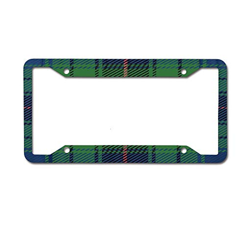 - Jackie Prout ss Blue Abstract Scottish Clan Davidson Traditional Tartan Plaid Green License Plate Frame Holder Aluminum Car Tag Frame 4 Hole and Screws