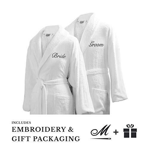 Luxor Spa - Luxor Linens Bride & Groom Terry Cloth Bathrobe Set -100% Egyptian Cotton-Unisex/One Size Fits Most-Luxurious,Soft,Plush,Elegant Script Embroidery (One Size with Gift Packaging, Custom Monogram)