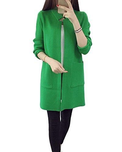 Mujer Cárdigan Jerséis Chaqueta de Punto Flojo Manga Largas Collar del Soporte Tops Verde