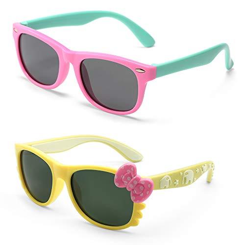 (MOTOEYE Kids Cat Eye Sunglasses for Girls Boys Children From 4-12 Years Old,Pack of 2)