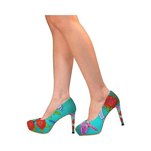Interestprint Azúcar Mujeres Sexy High Heels Pump Zapatos Rosas Mariposa