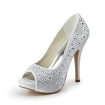 df046e78f Wuyulunbi  Women S Shoes Bejeweled Satin Stiletto Heel Platform Peep Toe  Heels Wedding Shoes More Colors