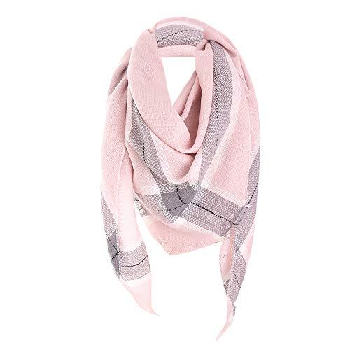 JESPER Women Winter Warm Long Wool Shawl Plaid Printed Soft Tartan Fringe Neck Scarf