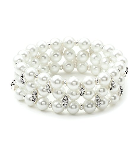 topwholesalejewel Silver Crystal Rhinestone Accents on White Pearl 3 Strand Row Stretch Bracelet