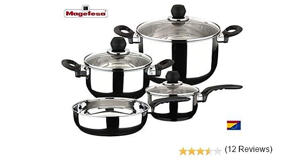 MAGEFESA PRACTIKA – Batería de Cocina 7 Piezas está Fabricada en Acero Inoxidable, Fondo difusor garantiza la distribución de calor. Fácil Limpieza y Apta lavavajillas: Amazon.es: Hogar