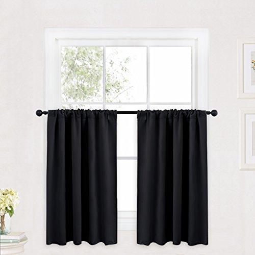 RYB HOME Curtain Valances for Windows Black, Bathroom Curtai