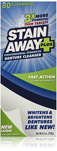 Stain Away Plus Denture Cleanser, 8.1-Ounce (Pack of 3)