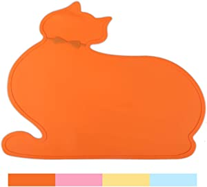 PINCTROT Pet Feeding Mat, Bowl Placemat for Cats Dogs, Tray with Raised Edges, Generous Size for Water Fountain Station, Food Grade Silicone