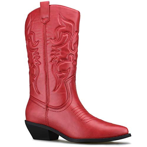 (Premier Standard - Western Cowboy Pointed Toe Knee High Pull On Tabs Boots, TPS Boots-Oner Red Size 7)