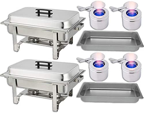 Chafing Dish Buffet Set Water Pan Food Pan 8 qt Frame 2 Fuel Holders – Stainless-Steel Warmer Kit 2 Pack
