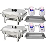 Chafing Dish Buffet Set — Water Pan + Food Pan (8 qt) + Frame + 2 Fuel Holders - Stainless-Steel Warmer Kit 2 Pack