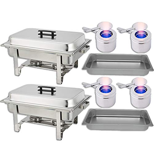 Chafing Dish Buffet Set � Water Pan + Food Pan (8 qt) + Frame + 2 Fuel Holders - Stainless-Steel Warmer Kit 2 Pack
