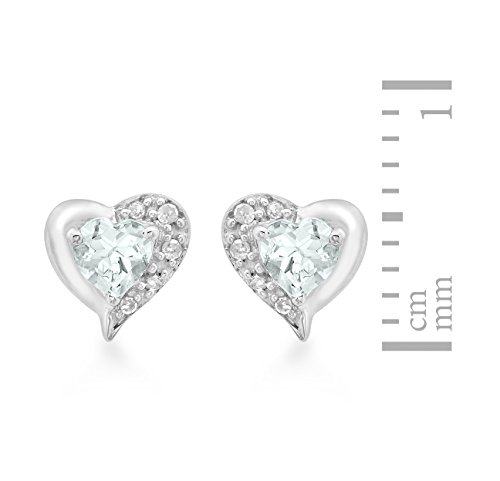 Carissima Gold - Boucles d'oreille - Femme - Coeur - Or blanc (9 Cts) 1.15 Gr - Aigue Marine - Diamant