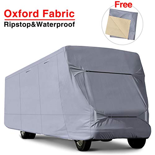 RVMasking Oxford Class C RV Cover, Fits 23'-26' Trailer Camper With Adhesive Repair Patch, More Waterproof Anti-UV Ripstop Camper Cover