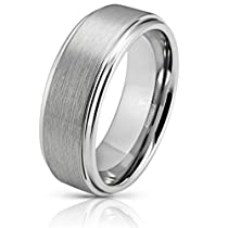 Atomic Jewelry Matte Brushed Inlay Mens Silver Tungsten Band