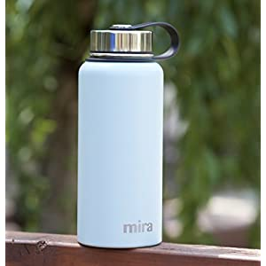 MIRA 32 oz Stainless Steel Vacuum Insulated Wide Mouth Water Bottle | Thermos Keeps Cold for 24 hours, Hot for 12 hours | Double Wall Powder Coated Travel Flask | Pearl Blue