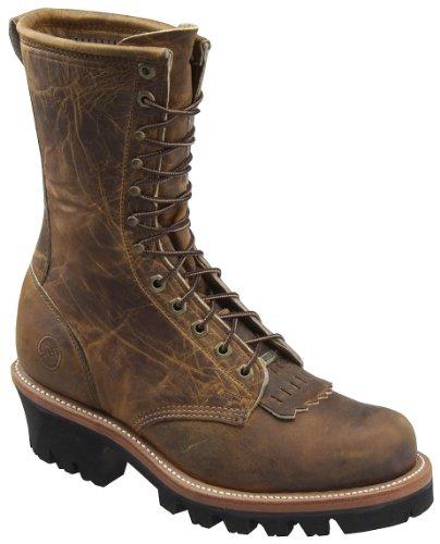 Double-H Boots Men's 9 Inch Logger Brown Full Grain 12 D US