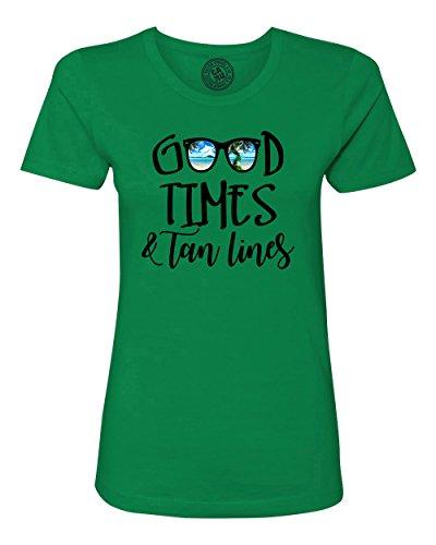 Good Times Tan Lines Sunglasses Beach Womens Short Sleeve T Shirt Kelly Green - R Sunglasses Kelly