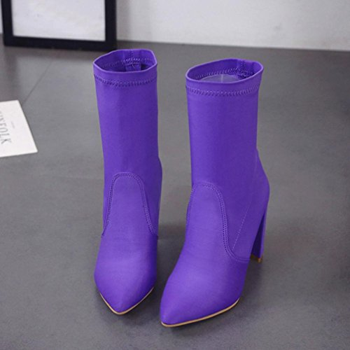 Women Inkach Purple Snow Classic Boots High Winter Shoes Ankle Boots Martin Heels aBFqBdw