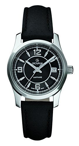 Grovana Women's 3215-1537 Traditional Analog Display Swiss Quartz Black Watch