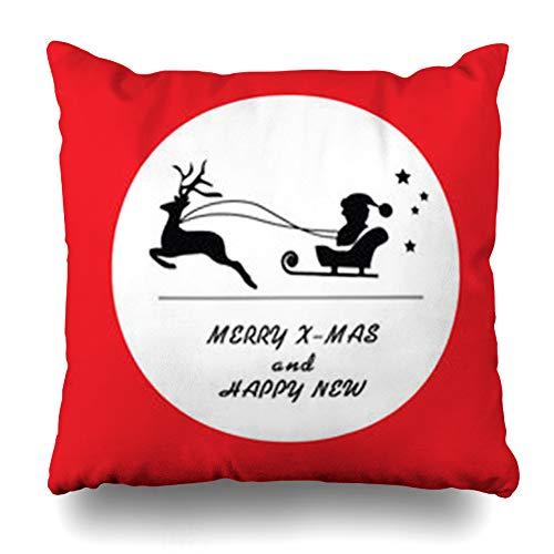 LifeCO Throw Pillow Cover Pillowcase Cart Christmas Iconvector Autumn Holidays Celebration Event Festive Hat Raindeer Design Home Decor Sofa 16