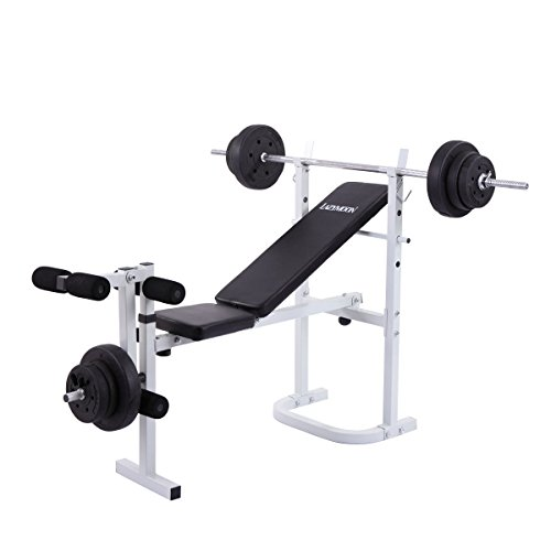 Weight Bench Gym Workout Home Fitness Exercise Lifting Body Press Cap Barbel by Directsale