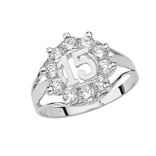 Elegant 14k White Gold CZ Quinceanera Ring (Size 7)
