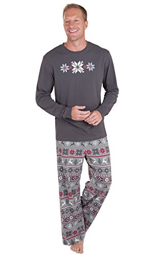 PajamaGram Holiday Nordic Matching Family Pajamas, Men Large, Red/Gray