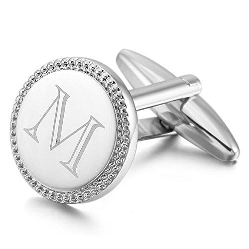 INBLUE Men's 2 PCS Rhodium Plated Cufflinks Silver Tone Initial Letter M Shirt Wedding Business 1 Pair Set ()