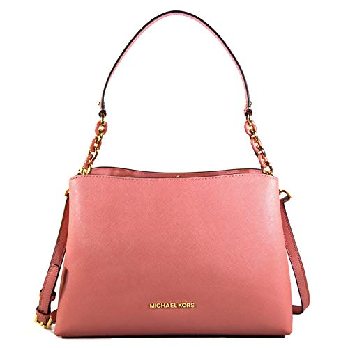 Michael Kors Sofia Large East West Saffiano Leather Satchel Crossbody Bag Purse Tote Handbag (Rose)
