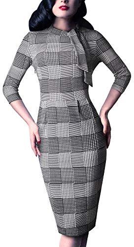 (HOMEYEE Women's Vintage Bowknot 3/4 Sleeve Party Dress B244(4,Grid))