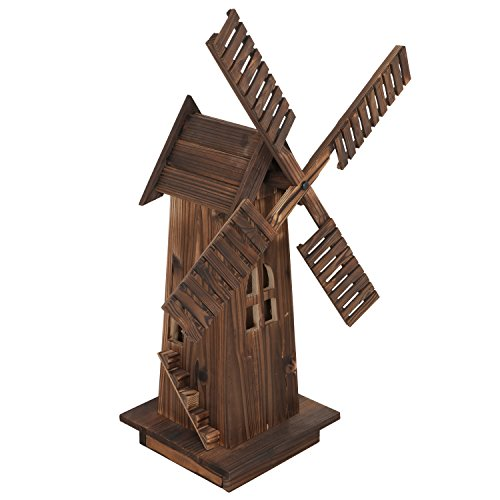 ZENY Decorative Wooden Windmill Classic Old-fashioned Wind Mill Holland Style Lighthouse Outdoor Yard Garden Home Decor,34'' Natural Accent Outdoor Lighthouse