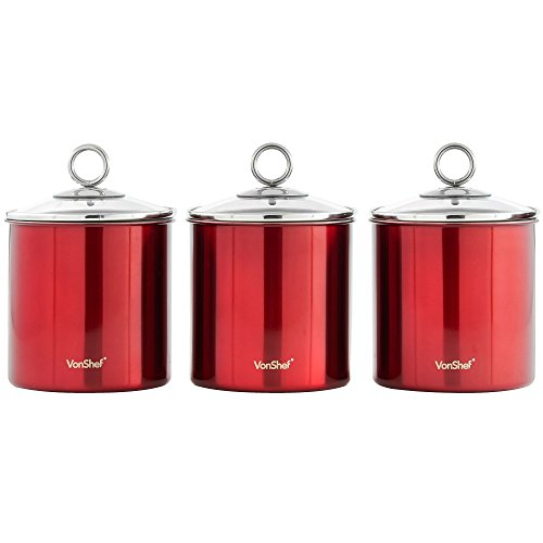 VonShef Set of 3 Tea, Coffee and Sugar Canisters/Kitchen Storage Jars with Glass Lids, Red Stainless Steel, ()