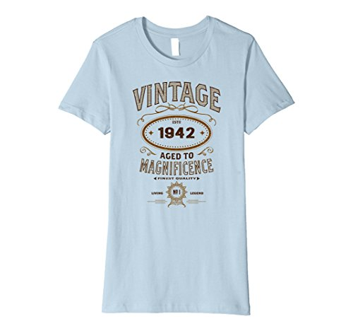 Womens Vintage Aged To Magnificence 1942 75th Birthday Gift T-shirt XL Baby Blue