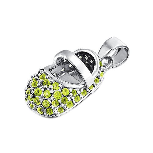 Baby Shoe Charm Pendant Simulated Peridot CZ 925 Silver with Engraving