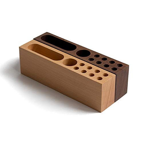 SODIAL Wooden Beech Card Holder Cell Phone Business Card Storage Box Desktop Pen Holder Office Table Top Storage Box