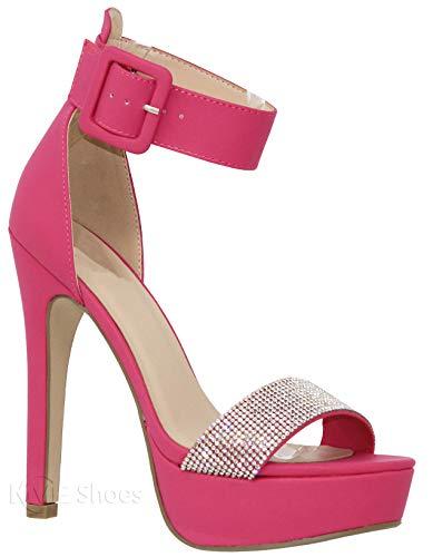 - MVE Shoes Women's Open Toe Jewled Buckle Strap Platform High Heel Sandal, Notice Hot Pink Pu 7