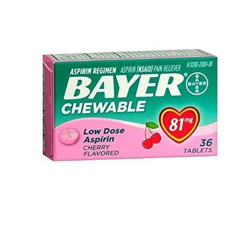 Bayer Chewable Low Dose Aspirin Cherry 81 Mg 36-Count (Pack of 4) (Cherry Aspirin)
