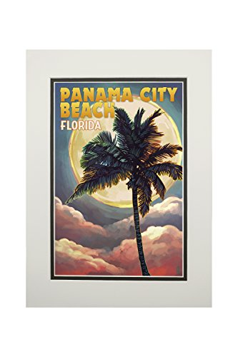 Panama City Beach, Florida - Palm and Moon (11x14 Double-Matted Art Print, Wall Decor Ready to Frame) (Beach Decor Beach City Panama)