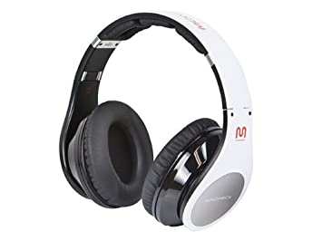 Monoprice - Auriculares de diadema estéreo Bluetooth, color blanco