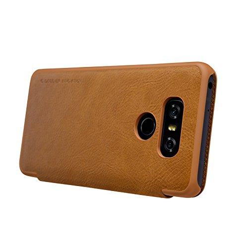 LG G6 Cover- MYLB Estilo del libro delgado de la PU del cuero del tirón cubierta funda case cover de la caja del teléfono para LG G6 smartphone (marrón) marrón