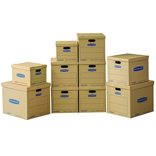 Bankers Box SmoothMove Classic Moving Kit Boxes, Tape-Free Assembly, Easy Carry Handles, 2 Small 6 Medium 2 Large, 10 Pack (7716801)