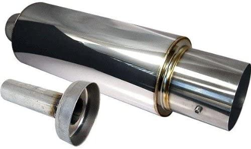 """4/"""" N1 Style Flat Tip Stainless Steel Muffler W// 2.5/"""" Inlet Silencer For NISSAN"""