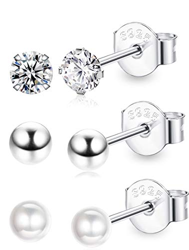Besteel 925 Sterling Silver Round Ball Stud Earrings for Women Girls Shiny CZ Pearl Inlaid 4MM
