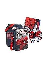 Spiderman Swimming Pool Set,Bag,Towel,Swim Cap&Goggles,Official Licensed(4pcs)