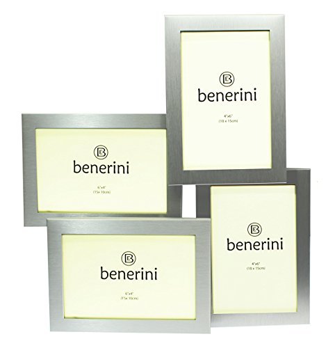 Photo Frames Brushed Aluminum Satin Silver Color 4 Picture Multi Aperture Gift - Holds 4 photographs No. -
